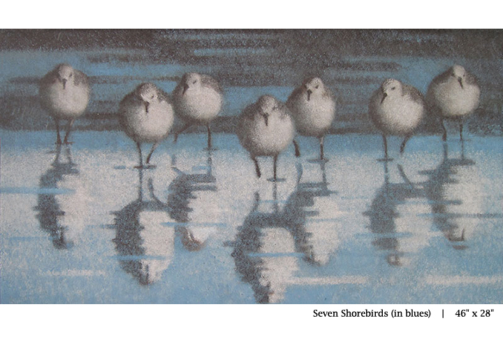 Seven Shorebirds (in blues)